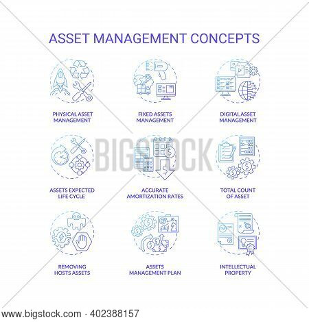 Asset Management Concept Icons Set. Investments Managing Idea Thin Line Rgb Color Illustrations. Acc
