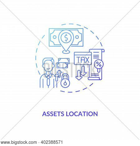 Assets Location Concept Icon. Assets Inventory Element Idea Thin Line Illustration. Taxable And Tax-