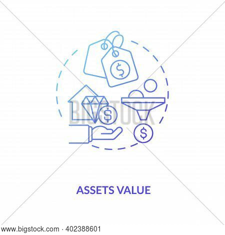 Assets Valuation Concept Icon. Assets Inventory Idea Thin Line Illustration. Financial Records. Dete