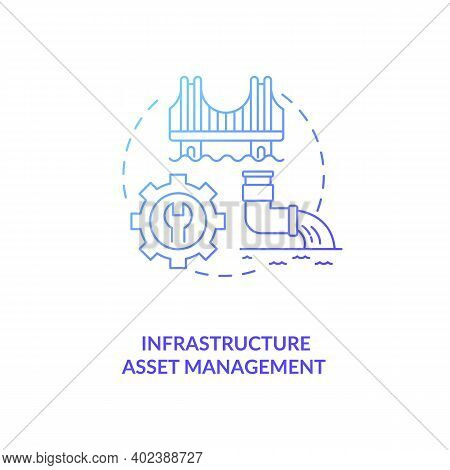 Infrastructure Asset Management Concept Icon. Am Type Idea Thin Line Illustration. Planning And Main