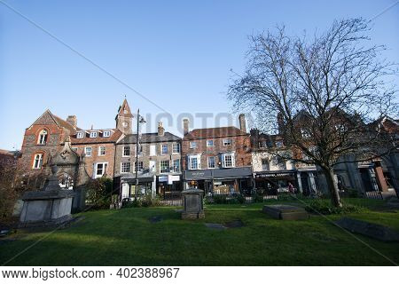 Views Of Bartholomew Street From St Nicholas Church In Newbury, West Berkshire In The Uk, Taken On T