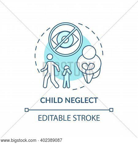 Child Neglect Turquoise Concept Icon. Kid Mistreatment. Poverty Problem. Parental Negligence. Child