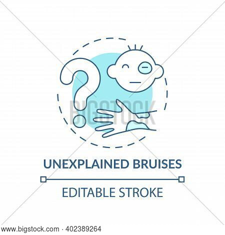 Unexplained Bruises Turquoise Concept Icon. Sign Of Physical Violence At Home. Abuse Symptom. Child