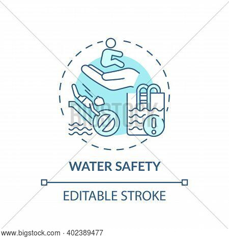 Water Safety Turquoise Concept Icon. Drowning Prevention. Children Rescue. Caution For Danger. Child