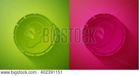 Paper Cut Ancient Coin Icon Isolated On Green And Pink Background. Paper Art Style. Vector