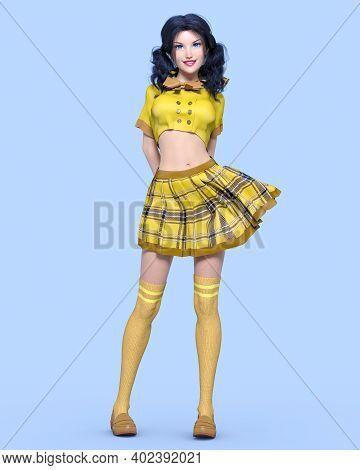 Young Attractive Girl In School Uniform.