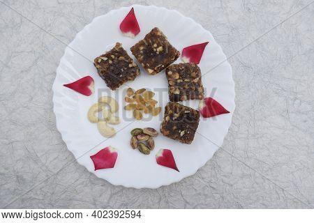 Khajur Ka Halwa Or Khajoor Paak Is A Traditional Indian And Pakistani Dish. Dry Fruit Halwa Barfi Da