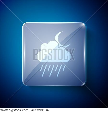 White Cloud With Rain And Moon Icon Isolated On Blue Background. Rain Cloud Precipitation With Rain