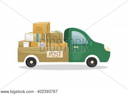 Vector Illustration Of A Truck With An Open Trailer With A Bunch Of Mail Parcels In Boxes. Mail Deli