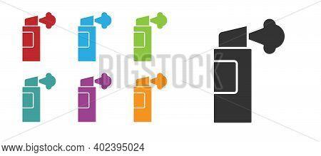Black Pepper Spray Icon Isolated On White Background. Oc Gas. Capsicum Self Defense Aerosol. Set Ico
