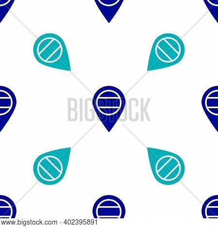 Blue Location Russia Icon Isolated Seamless Pattern On White Background. Navigation, Pointer, Locati