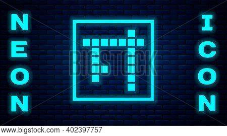 Glowing Neon Bingo Icon Isolated On Brick Wall Background. Lottery Tickets For American Bingo Game.