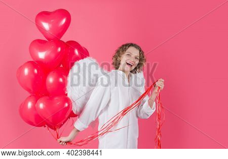 Valentine Day Advertising. Valentines Woman Cupid. Cupid Angel Woman With Balloons. Cupid In Valenti