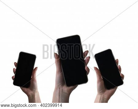Smartphone In A Womans Hand On A White Background. A Mocap Smartphone In Hand.