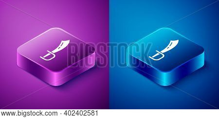 Isometric Pirate Sword Icon Isolated On Blue And Purple Background. Sabre Sign. Square Button. Vecto