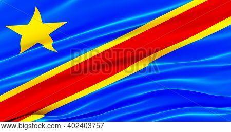 Waving Fabric Flag Of Congo, Silk Flag Of Congo. 3d Render
