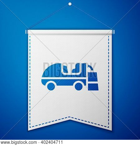 Blue Ice Resurfacer Icon Isolated On Blue Background. Ice Resurfacing Machine On Rink. Cleaner For I