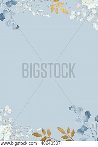 Pale Watercolor Leaves And Flowers On Baby Blue Background - Vertical Botanical Design Banner. Flora