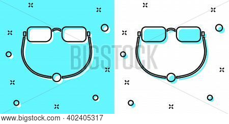 Black Line Eyeglasses Icon Isolated On Green And White Background. Random Dynamic Shapes. Vector