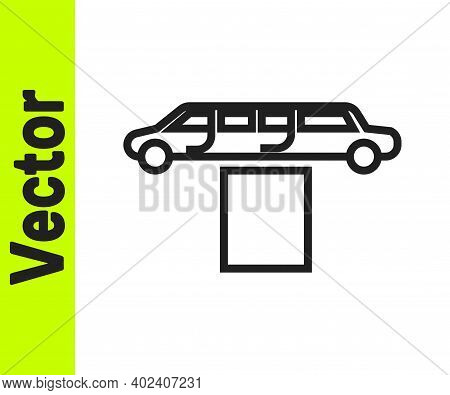 Black Line Luxury Limousine Car And Carpet Icon Isolated On White Background. For World Premiere Cel