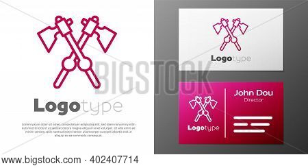 Logotype Line Crossed Medieval Axes Icon Isolated On White Background. Battle Axe, Executioner Axe.