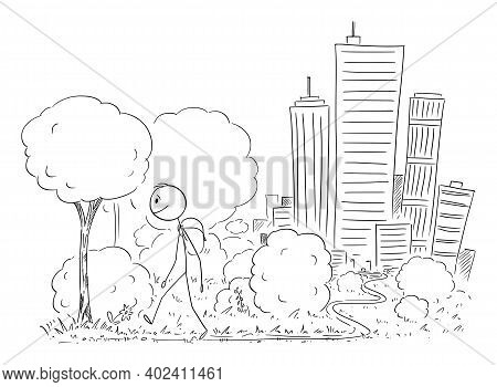Vector Cartoon Stick Figure Illustration Of Man Leaving The Big City On Background And Walking On Tr