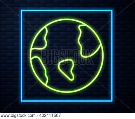 Glowing Neon Line Earth Globe Icon Isolated On Brick Wall Background. World Or Earth Sign. Global In