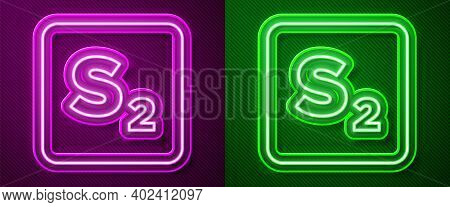 Glowing Neon Line Bingo Icon Isolated On Purple And Green Background. Lottery Tickets For American B
