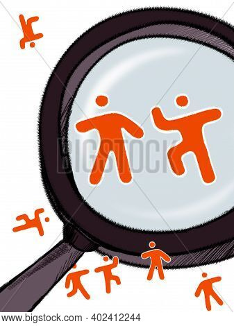 Signs Of Sports Men Under A Magnifying Glass. Humor. Illustration Isolated On White Background