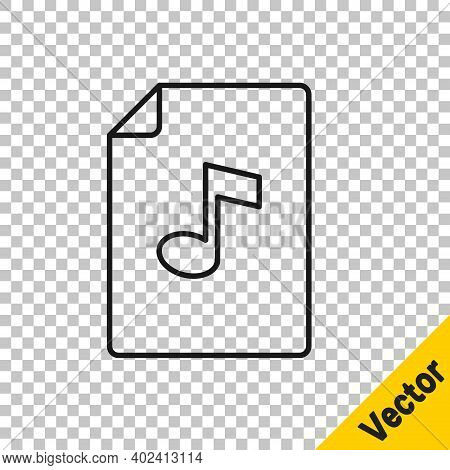 Black Line Music Book With Note Icon Isolated On Transparent Background. Music Sheet With Note Stave