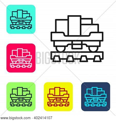 Black Line Cargo Train Wagon Icon Isolated On White Background. Full Freight Car. Railroad Transport
