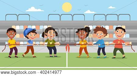 Happy Diverse Multiracial Cute Kids Boys And Girls Playing Tug O War. Flat Cartoon Colored Vector Il