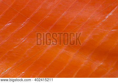Salmon Fillet Background. A Background Of Fresh Smoked Salmon.