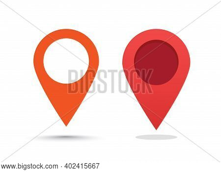 Pin Pointer Marker Red Color For Map Location Place Icon Set Vector Flat Cartoon, Direction Mark Ele
