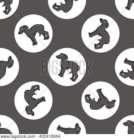 Hand Drawn Cute Greyhound Dog Breed In Polka Dot Seamless Vector Pattern. Purebread Pedigree Puppy D
