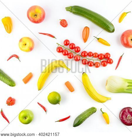 Square pattern of vegetables and fruits isolated on white background.