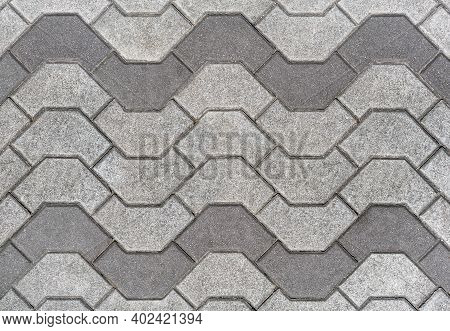 The Texture Of The Paved Tile On The Bottom Of The Street. Cement Brick Stone Floor Background. Conc