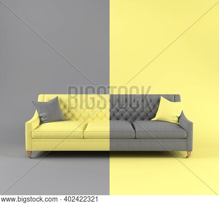 Modern Scandinavian Fabric Sofa With Pillow On Legs On Yellow Gray Background. Color Of Year 2021. I
