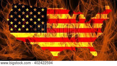 Riots In The United States. Usa Flag And Map Contour Line On Fire Background.