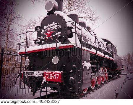 Petrozavodsk, Russia, January 06, 2021. Retro Train, Locomotive. The Inscription
