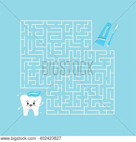 Cute Tooth And Toothpaste With Toothbrush Maze Game Labyrinth. Help Strong Teeth To Find Right Road