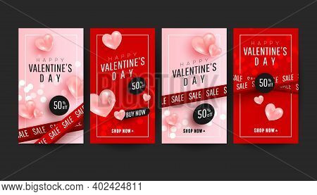 Happy Valentines Day Promo Story Banner Collection Set With 3d Pink Hearts On Pink Red Background. V