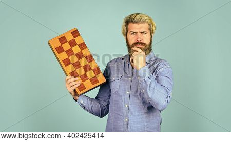 Strategy With Chess Figures. Chess Battle And Victory. Board Game Concept. Competition And Strategy