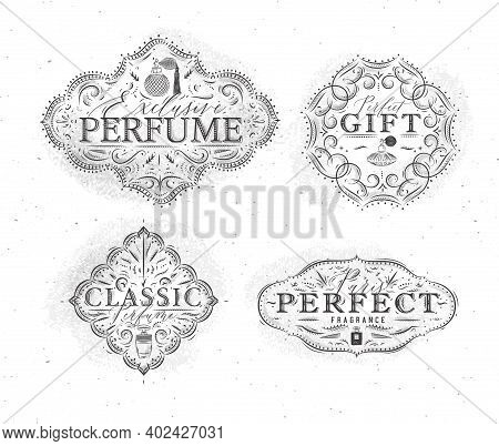 Perfume Vintage Badges With Fragrance Bottle Set Drawing In Retro Style