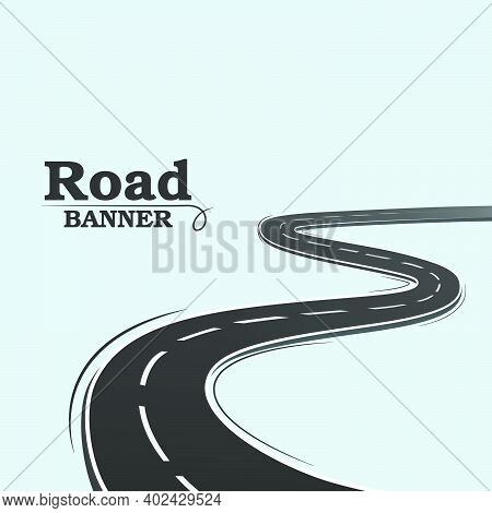 Blue Banner, Long Road. Winding Road On A Blue Background. Road Banner. A Simple Image Of A Road On
