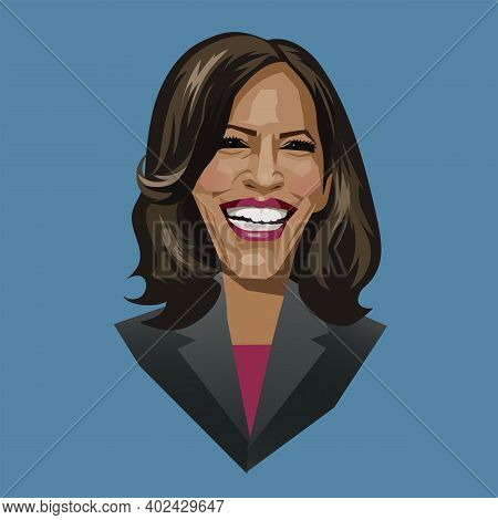 Asheville Nc, January 8, 2021. Caricature Portrait Of Kamala Harris, First Female And First Black Vi