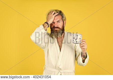 Bearded Man Hate Alarm. Time Management. Need To Relax. Annoying Ringing Alarm Clock. Break Discipli