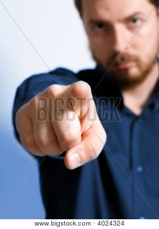 Adult Man Pointing Towards Viewer