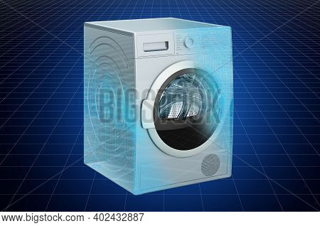 Visualization 3d Cad Model Of Tumble Dryer, Blueprint. 3d Rendering