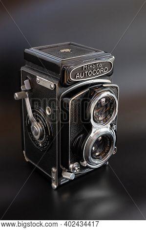 Zurich, Switzerland - December 31, 2020: Isolated Twin Lens Reflex Retro Minolta Autocord Camera On